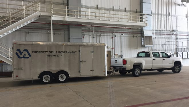 August 30, 2012 -Equipment for the Memphis VA Medical Center's emergency medical response team arrives at the 164th Airlift Wing hangar at Memphis International Airport.