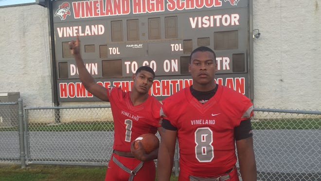 Isaih Pacheco (left) and Nihym Anderson have played key roles in the reemergence of the Vineland football program.