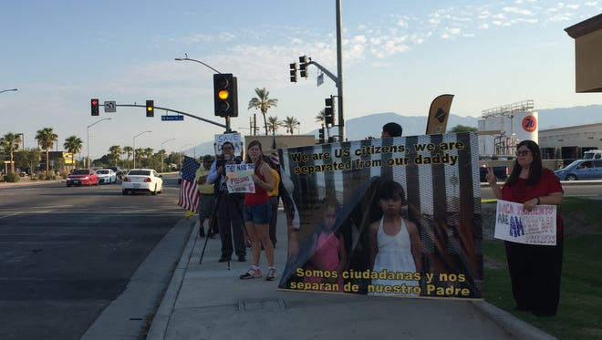 Community members gather in Coachella to protest the Trump administration's decision to rescind DACA on Sept. 5, 2017.