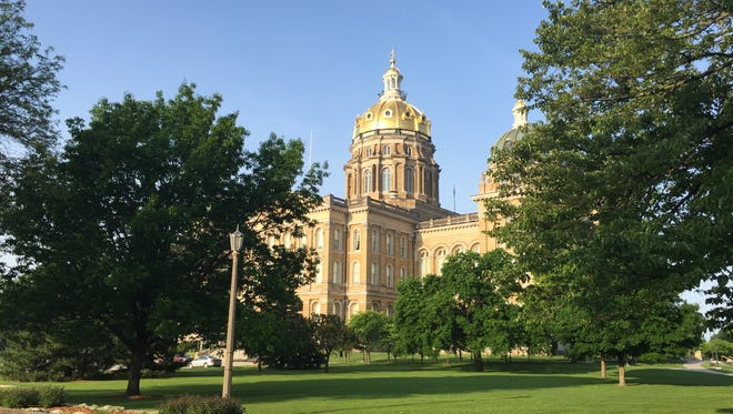 A view of the Iowa Capitol from the northeast side near Grand Avenue in Des Moines.