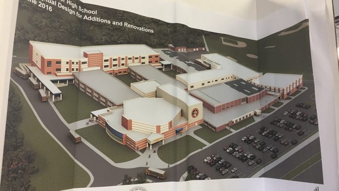 Millville high school Principal Stephanie DeRose presented this conceptual of a reconstructed and expanded senior high school to members of the Millville Kiwanis on Thursday. DeRose said the darker areas indicate existing areas being renovated and lighter areas depict new construction.