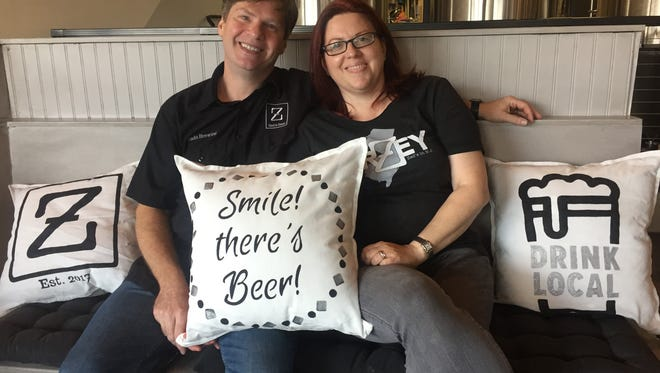 Geoff Bado and Lori White in the tasting room of Zed's Beer/Bado Brewing in Marlton shortly before opening its doors two and a half years ago. The brewery just won Best of New Jersey in the 2020 New York International Beer Competition.