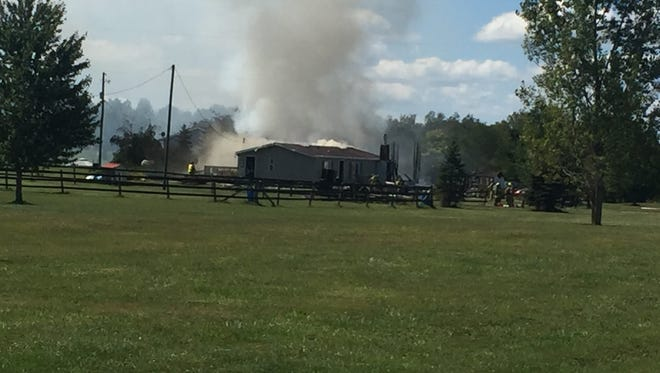 A fire at a home in Bennington Township on Saturday destroyed the home's garage.