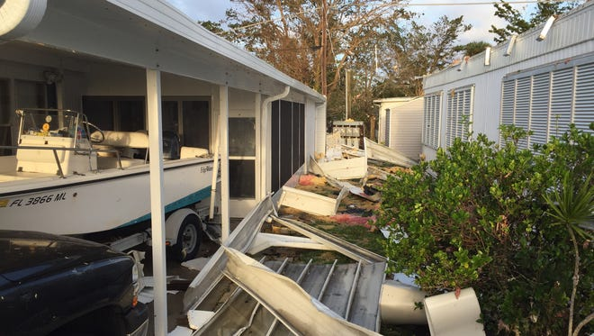 Damage at the Holiday Manor mobile home community in East Naples after Hurricane Irma struck Southwest Florida.