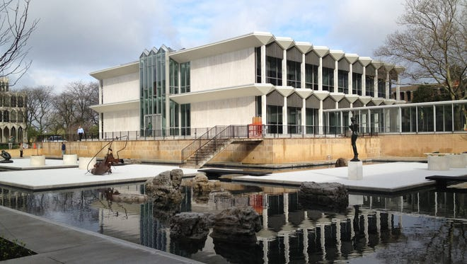 The reflecting pool at the Yamasaki designed McGegor Memorial Conference Center at Wayne State University on Monday, April 29, 2013.