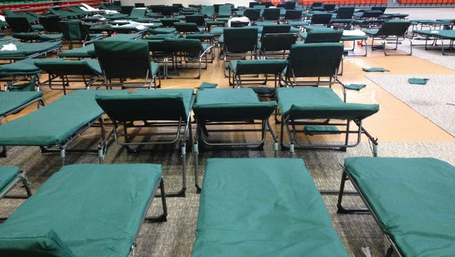 Rows and rows of cots remained set up inside the Lawson Center at FAMU on Wednesday. FAMU has been housing EMTS, medical personnel and other first responders since Saturday evening.