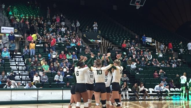 The CSU volleyball team swept UNLV 3-0 on Saturday at Moby Arena to move to 12-2.