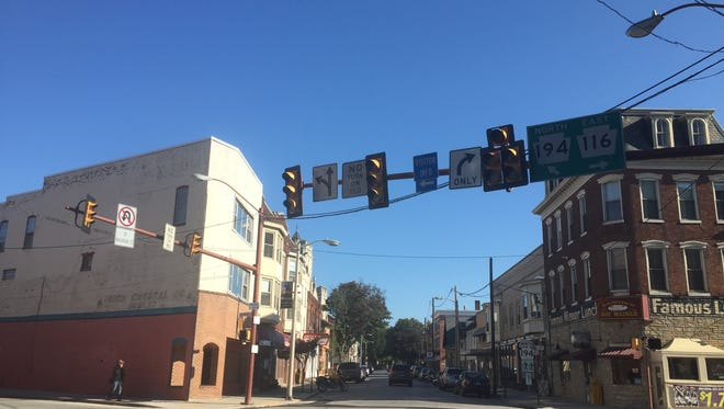 Lights out at the intersection of Broadway, York and Railroad Streets, due to a power outage Sunday Sept. 24.