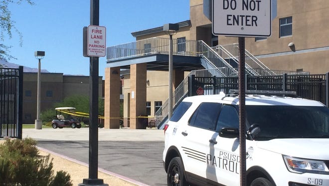 An area around Building 300 at Rancho Mirage High School is cordoned off by police after a student reportedly fell from the second floor during lunch Friday, Sept. 29, 2017. The student, a male, was taken to a local hospital with a head injury, officials said.