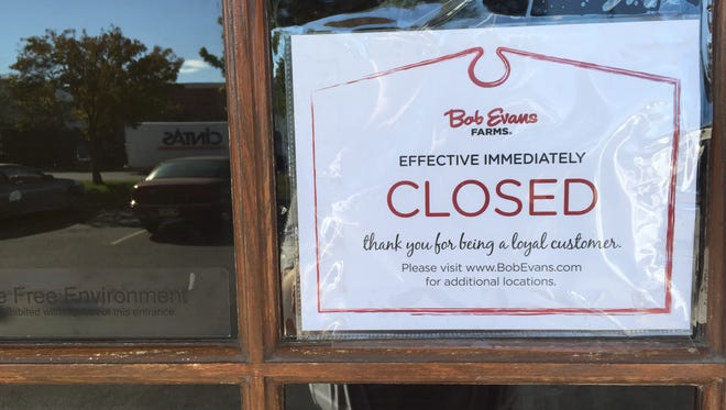 A sign on the door made it official: Bob Evans on Evansville's West Side has closed.