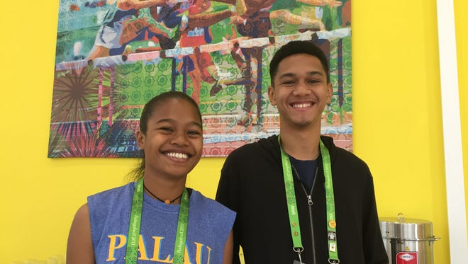 Maura Ngirmechaet, left, and Ryon Gaines, were two of the youngest competitors at the recent 5th Asian Indoor and Martial Arts Games held in Ashgabat, Turkmenistan. Mechaet, 17 hails from Melekeok and Gaines, 19, is from Angaur.