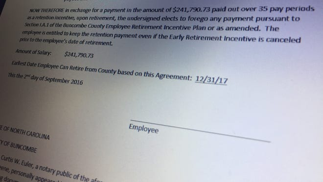 Buncombe County does not have a signed copy of former manager Wanda Greene's retention incentive agreement, a program that gave her an additional year of salary.