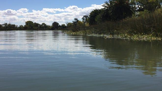 At Big Break Regional Shoreline, water flows through the Sacramento-San Joaquin River Delta toward San Francisco Bay.