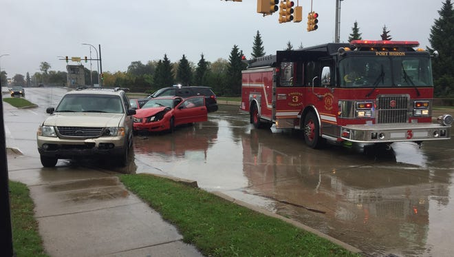 A Ford SUV and a Pontiac coupe were involved in a crash at 10th and Water streets in Port Huron..