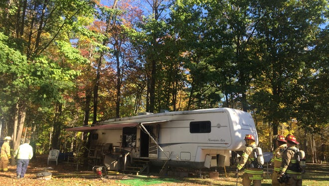 A camper was damaged in a fire Monday morning in St. Clair Township.