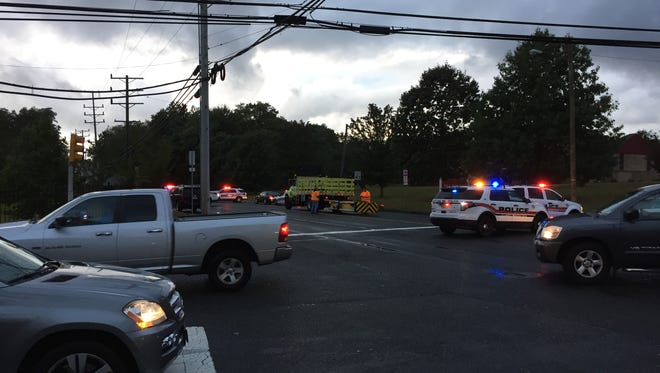 Route 33 was closed between West Bangs Avenue and Jumping Brook Road Monday morning.