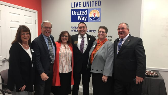 """Pictured left to right at the launch of a new United Way of Hunterdon County initiative are:Laurie Ford; Robert L. Ford II, funeral director; Bonnie Duncan, CEO, United Way of Hunterdon County; Daniel James """"D. J."""" Wright, owner and executive Ddrector; Priscilla Fay, funeral director, and James Howarth, Lead Family Ambassador."""