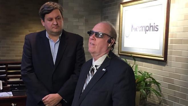 Kevin Phelan and Mike Hingson of AIRA at Memphis International Airport Thursday.