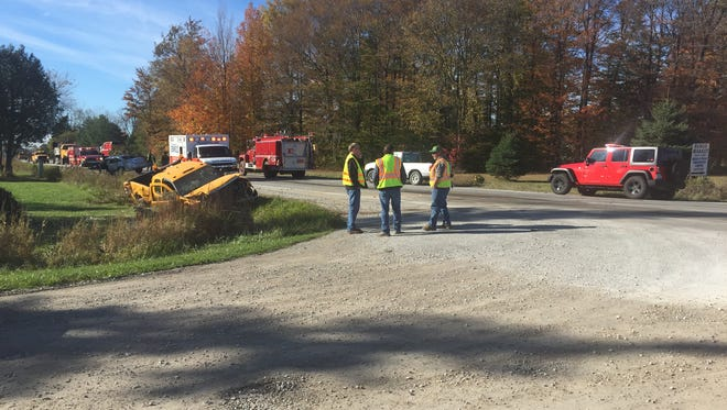 A road commission truck came to a rest in a ditch following a crash Thursday.