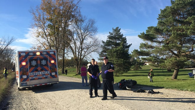 A man was severely injured after swerving his motorcycle on Beard Road in Kenockee Township to avoid hitting a dog that ran into the road on Thursday, Oct. 26, 2017.
