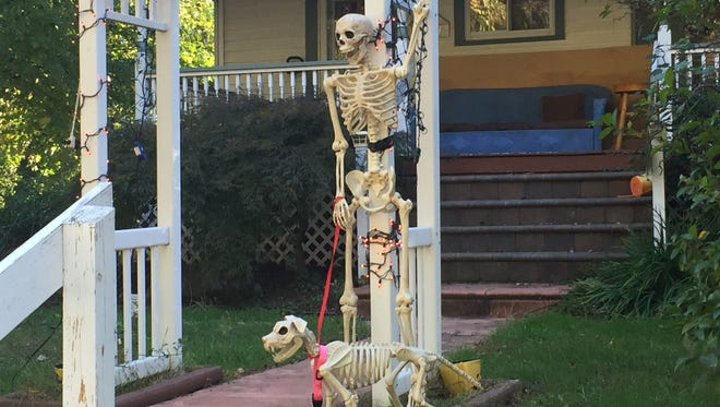 A skeleton and his dog greet passers-by at a Halloween display outside a home on Graham Avenue in Cherry Hill.