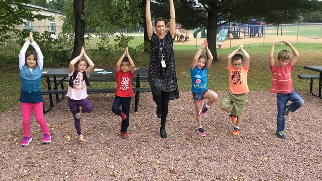 Weston Elementary students have opportunities to practice yoga in their meditation garden.