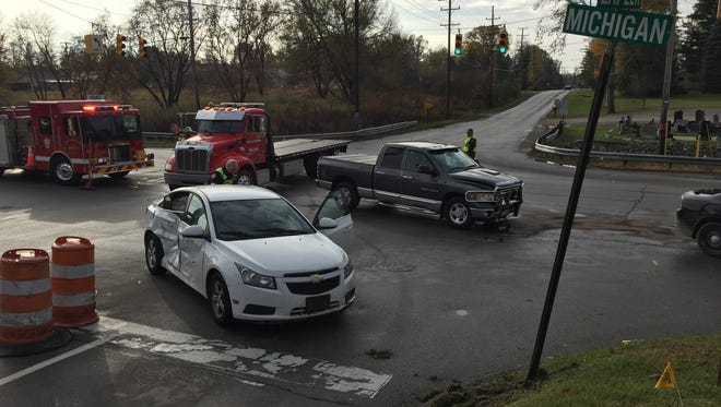 Two vehicles crashed in the intersection of Lapeer and Michigan roads Friday morning in Port Huron Township.