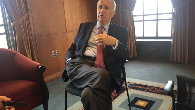 Former NFL commissioner Paul Tagliabue talks with the Detroit Free Press before an event at the University of Michigan on Tuesday.