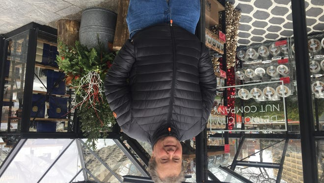 Frank Tymrak has all the nuts you want at the Winter Market on Cadillac Square.