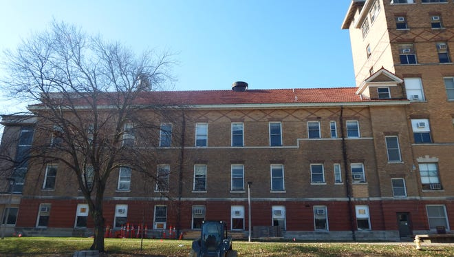 The portion of the University of Iowa's Seashore Hall in Iowa City that will be demolished in December is shown on Nov. 21, 2017.