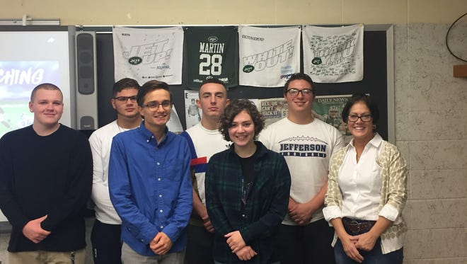 Jefferson Township High School's Sports and Entertainment Journalism class, Robert Albright, Kyle Venutolo, Joshua Dyl, Joseph Batelli, Toni Mordone, Jake Carnevale, and teacher Maria Clarizio