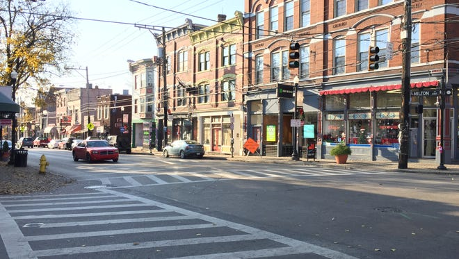 The intersection of Hamilton and Chase Avenues in the Cincinnati neighborhood of Northside.