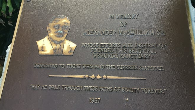 Former Vero Beach mayor and state Rep. Alex MacWilliam is honored with a plaque on Veterans Memorial Island Sanctuary.