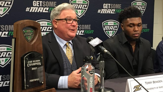 Akron coach Terry Bowden leads the Zips into Saturday's MAC championship game against Toledo at Ford Field.