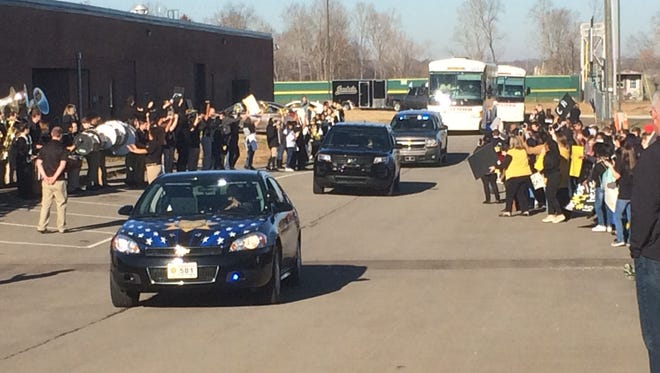 The Springfield High School football team left town Friday with an escort that included Robertson County Sheriff Bill Holt and his chief deputy in addition to officers with the Springfield Police Department. The team is set to play for the state championship title.