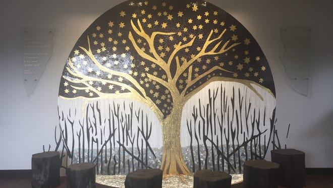 A local artist, designer and second generation Holocaust survivor, Evelyn Rauch, created a beautiful and moving glass mosaic mural for the JCC Holocaust Memorial and Education Center to honor the souls that were lost in the Holocaust and those that survived.
