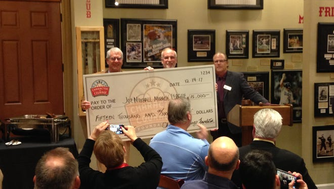 Joe Nuxhall Miracle Leagues accept a $15,000 grant from Character and Courage Foundation.