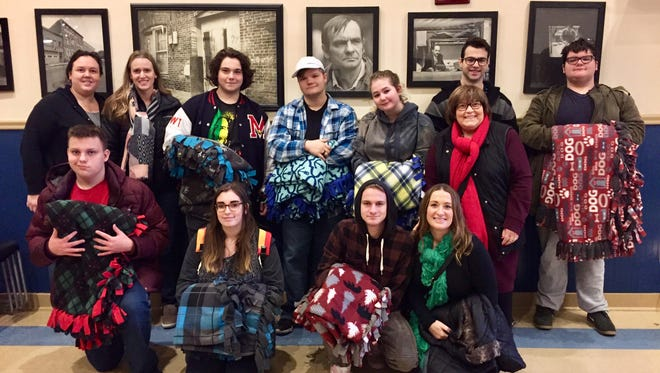 Students in Mendham High School's Being Successful program donated blankets to Morristown's Market Street Mission.