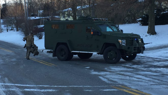 The York County Quick Response Team's Bearcat armored vehicle arrived at the police incident at Newberry Estates in Newberry Township.