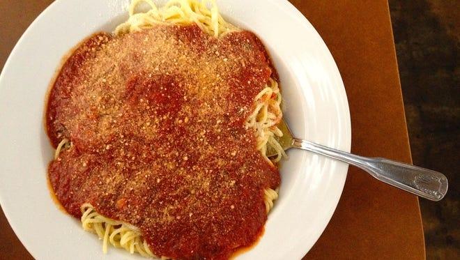 The Spaghetti Sundays menu at Ventura Spaghetti Co. includes bread, salad and a bowl of spaghetti for $5.95.