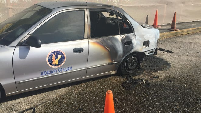 A parked Hyundai sedan was set on fire on Monday Jan. 8, 2018 at about 11 p.m. in front of the Guam Judicial Center in Hagåtña The person who set the car had fled the scene before a security guard could apprehend them, said Judiciary spokesman Shawn Gumataotao. The incident is under investigation.
