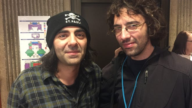 """German """"In the Fade"""" director Fatih Akin (left) hangs with Sebastián Lelio, director of the Chilean film """"A Fantastic Woman"""" Monday at the Annenberg Theater. Both films are on the Shortlist for a Best Foreign Language Film Oscar nomination."""