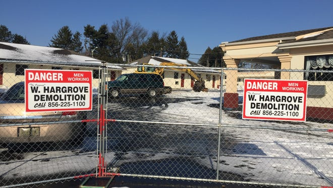 The former Garden State Inn motel in Cinnaminson is being demolished for redevelopment as a Lidl supermarket at Route 130 southbound and Highland Avenue.