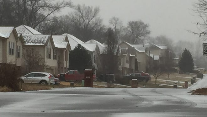 Ice and snow in Clarksville on Friday, Jan. 12, 2017.