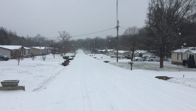 Snow covers Royal Drive in Wilson County on Jan. 16, 2018.