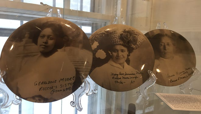 Photograph pins at the Camden County Historical Society show three women of the Moore family.