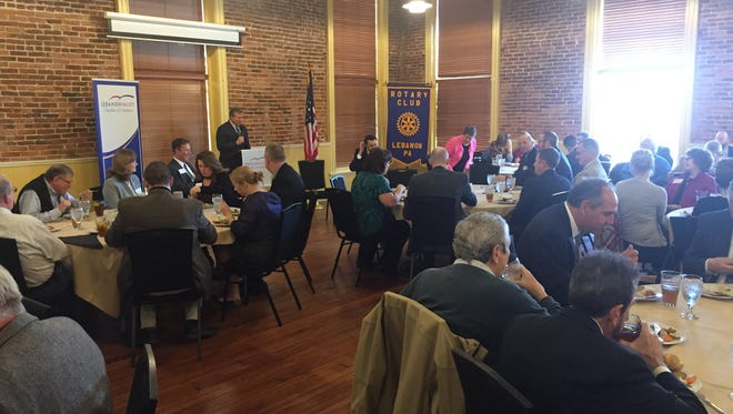 United States Representative Charlie Dent addresses Lebanon community leaders at a luncheon Tuesday at the Foundry Craft Grillery sponsored by the Lebanon Valley Chamber of Commerce.