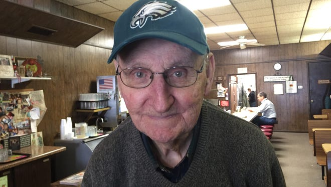 Ed Celek, 93, of Fremont said he is both nervous and excited about watching his grandson Brent Celek play for the Philadelphia Eagles in Super Bowl LII on Sunday.