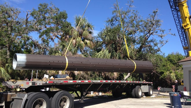 The long-awaited, and much-debated, cellphone tower in Indian River Shores was delivered Tuesday morning. Construction proceeded throughout the day.