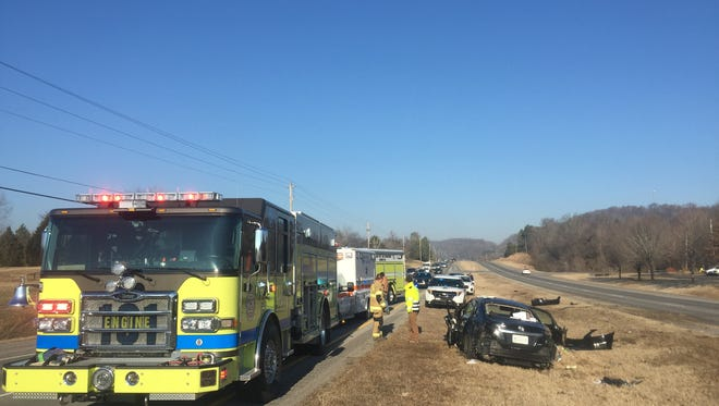 One woman was transported from the scene of a rollover accident on Highway 12 South in Ashland City shortly after 8 a.m. Thursday morning.